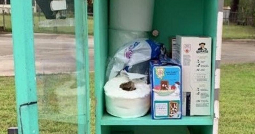 Outdoor Library Converted into Mini-food Bank in Response to Coronavirus Fears