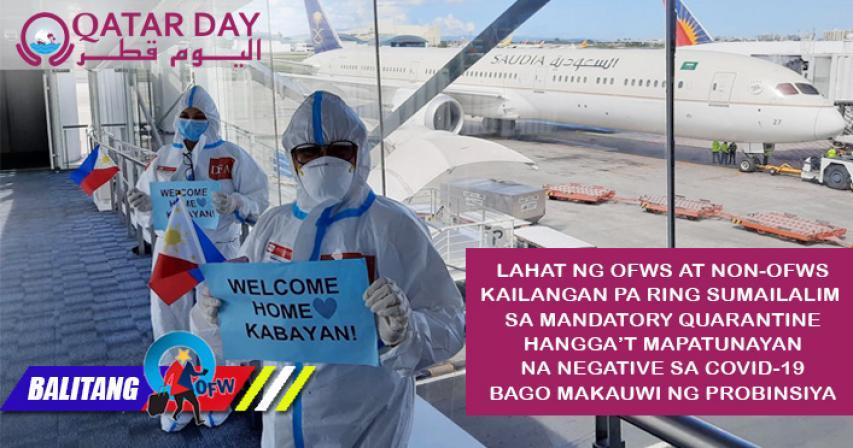 OFWs at non-OFWs kailangan pa rin i-quarantine bago umuwi ng probinsiya