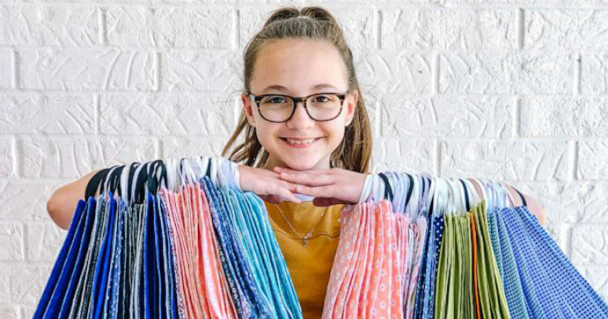 11-year-old sews 500 blankets and over 1,000 masks for kids in need
