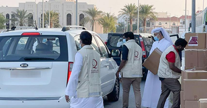 Qatar Charity distributes food parcels to Asian expatriate families