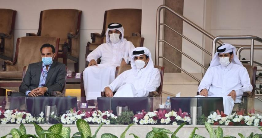Amir attends the Inaugral match of Qatar Total Open 2021