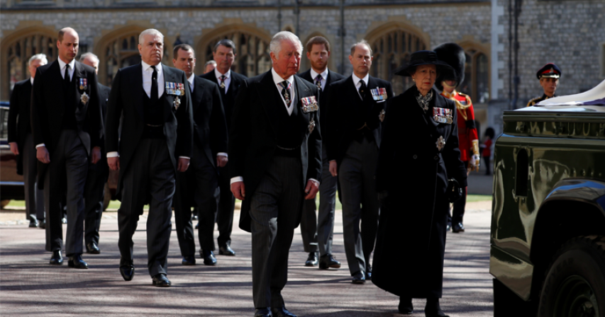 Queen Elizabeth and her family paid their last respects to Prince Philip at his funeral in Windsor