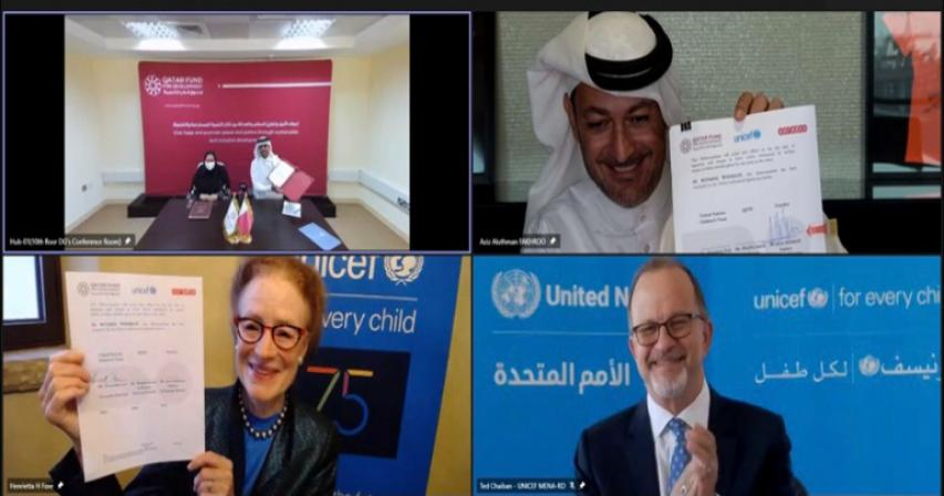 QFFD, Ooredoo Group, UNICEF Sign Strategic Partnership Agreement to Support Millions of Children Around the World