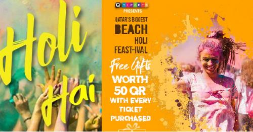 Countdown to Qatar's Biggest Beach Holi Feast-ival of Colors 2020 Begins!
