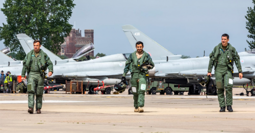 A joint British-Qatari Typhoon squadron carries out its flights