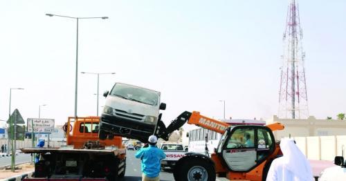 Abandoned vehicles being shifted to Al Meshaf, Mesaimeer & Umm Salal