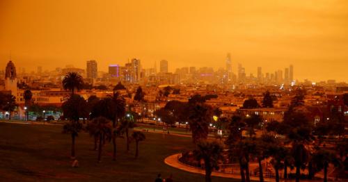 Fires turn California skies glowing orange