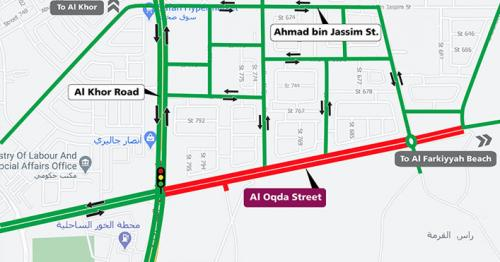 Ashghal announces Temporary Partial Closure on both directions of Al Oqda Street