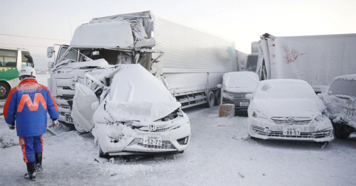 Japan: One dead as snowstorm causes 130-car pile-up