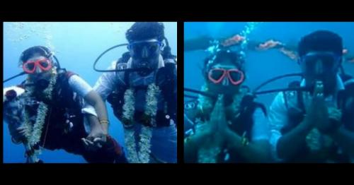 India couple takes the plunge to marry underwater