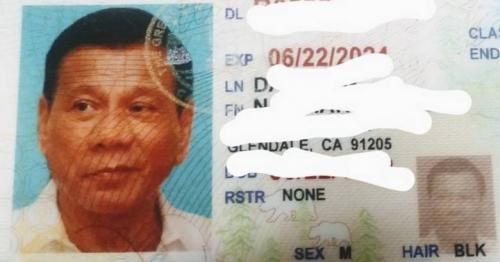 Driver caught using fake licence with Philippine president's photo