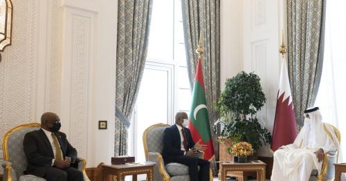 HH the Amir and the President of Maldives held official talks at the Amiri Diwan