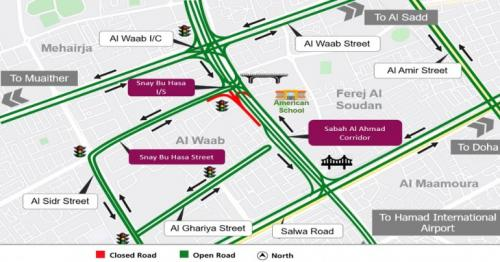 Ashghal partially closes Snay bu Hasa Intersection in Al Waab area