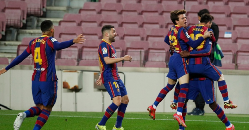 Dembele volley takes Barca one point behind Atletico