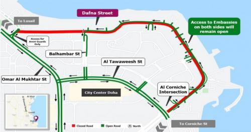 Ashghal announces closing of roads on Dafna streets for six months
