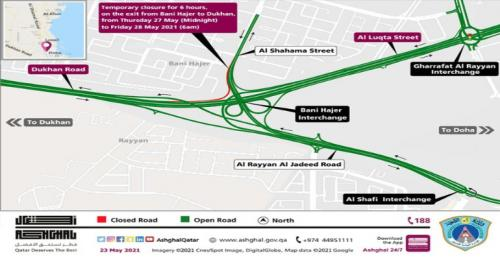 Ashghal announces temporary closure on Bani Hajer interchange