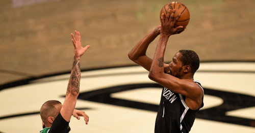 Top trio leads Nets to win over Celtics
