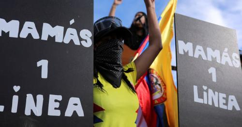 Amid tear gas and rocks, mothers take to front line of Colombia protests