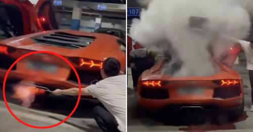 Watch: Lamborghini erupts in smoke after man tries to cook kebab using exhaust