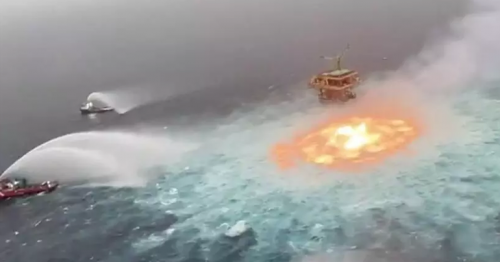 Fire Rages In The Middle Of Ocean Near Mexico
