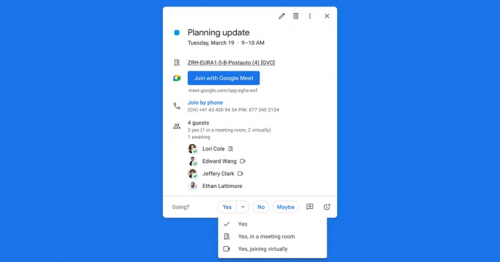 Google Calendar Now Lets You Specify If You'd Like To Attend An Event Virtually Or In-Person